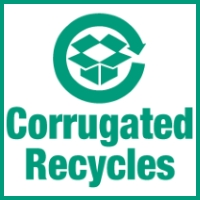 Corrugated recycles universal mark printing on boxes